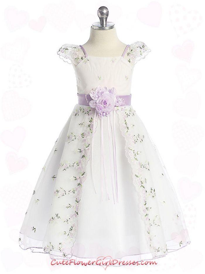 flower girl dresses | Lilac Cute Shoulder & Floral Embroidery Flower Girl Dress