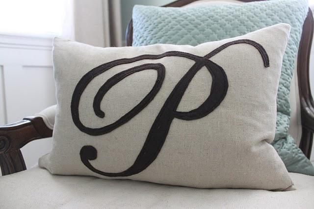 DIY monogram pillow.