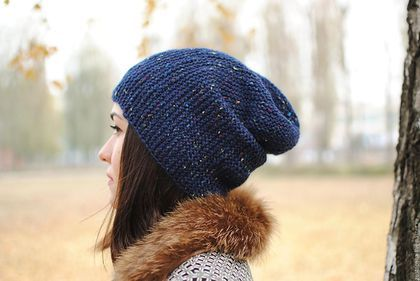 Шапка бини вязаная спицами  носок чулок унисекс шапка шапка теплая шапка вязанная шапка зимняя шапка осенняя шапочка теплая шапочка вязаная спицами шапочка вязанная шапочка шерсть удлиненная шапка