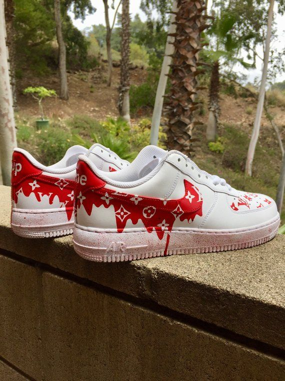 official photos a55f1 c7df9 Dripping Red Louis Vuitton x Supreme Nike Air Force Ones, Custom shoes