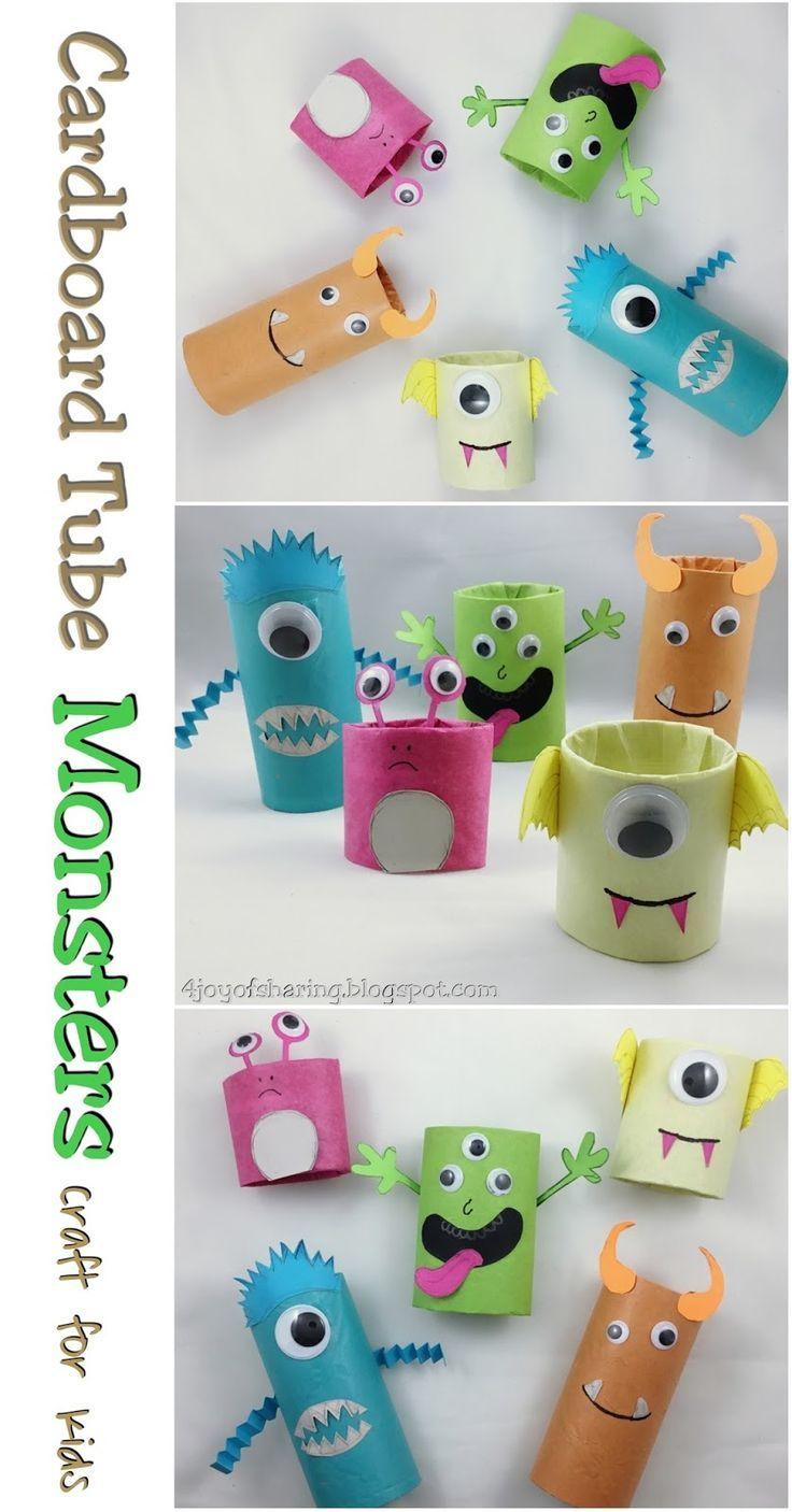 Cardboard Tube Monsters Halloween Craft