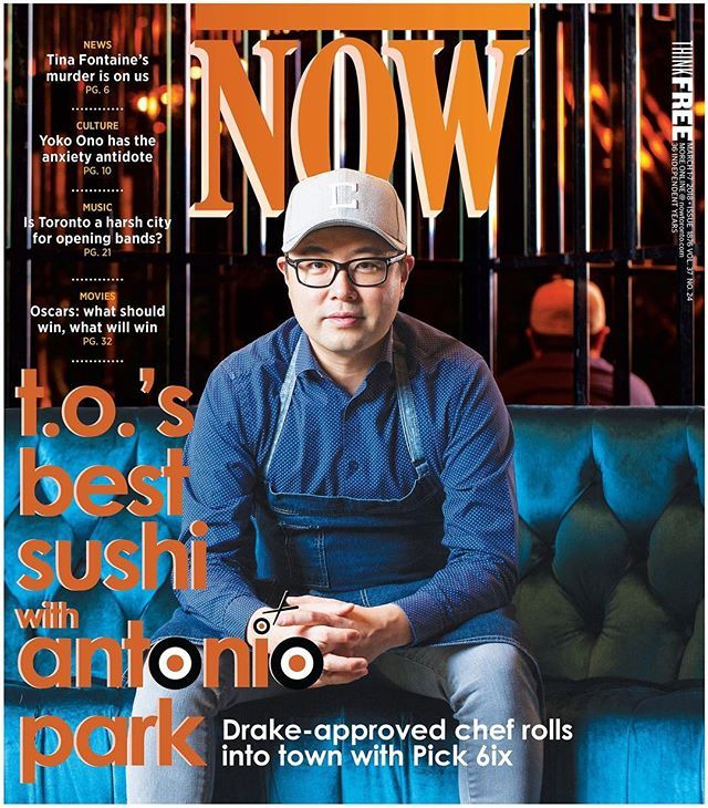 This week's cover: @chefantoniopark of @pick6ixto (yes, @champagnepapi's new restaurant), plus a guide to the best sushi in Toronto! 🍣🍱🍙 (photo by @samuelengelking, words by @natmanzoc)