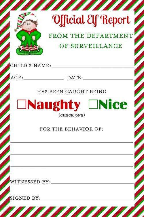 elf printable report card christmas north pole breakfast