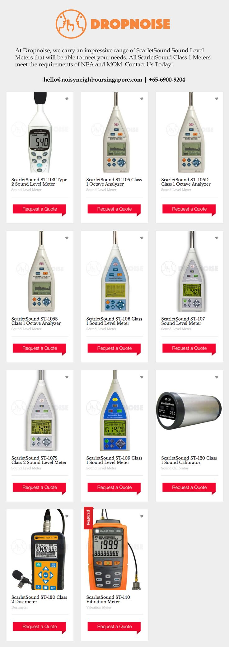 Scarlet Sound Sound Level Meters at Dropnoise Singapore