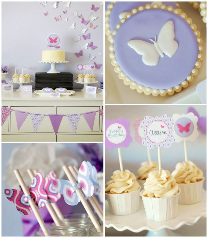 Butterfly themed birthday party with Lots of Cute Ideas via Kara's Party Ideas | Cake, decor, cupcakes, games and more! KarasPartyIdeas.com