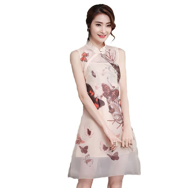 Fasbys Chinese Traditional Stand Neck Sleeveless Improvement Retro Butterfly Print Transparent Short Cheongsam Cute Qipao Dress