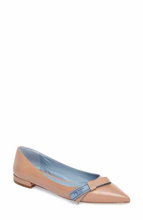 f4086bb8af Prada Logo Bow Pointy Toe Flat (Women) | Designer Fashions | Pointy ...