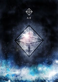 Elemento Ar e o Sagrado Simbolo Geométrico ~ Octaedro de 8 Faces em Triângulos Equiláteros por Sanchit Sawaria