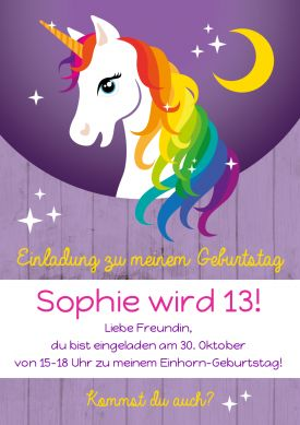 Tolle Einladungskarte zum 13. Kindergeburtstag mit buntem Regenbogen-Einhorn