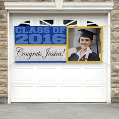 Personalized Graduation Photo Banners - perfect graduation party accessory for the class of 2016! This banner would make a great graduation guest book! All of their friends can sign it like a yearbook!