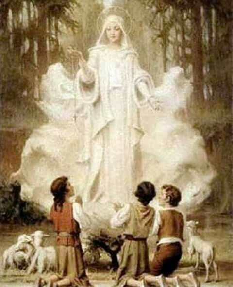 This is Blessed Virgin Mary appearing to the little children in Lourdes, France 1858 February 11