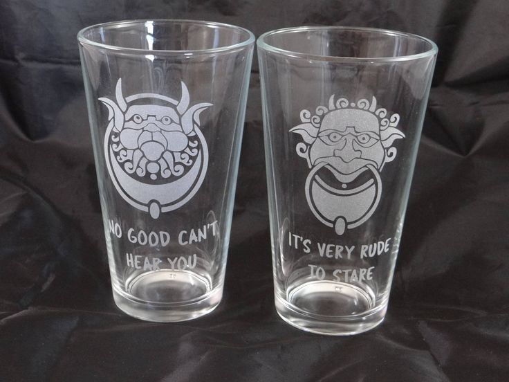 Labyrinth Door Knockers Custom Etched Pint Glasses