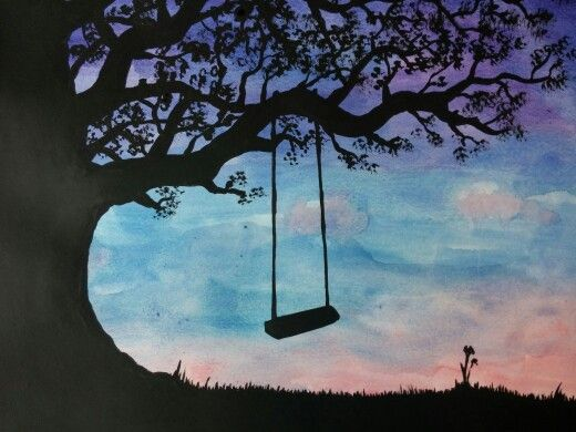 Easy Art Project: Tree swing silhouette - watercolor with black acrylic paint