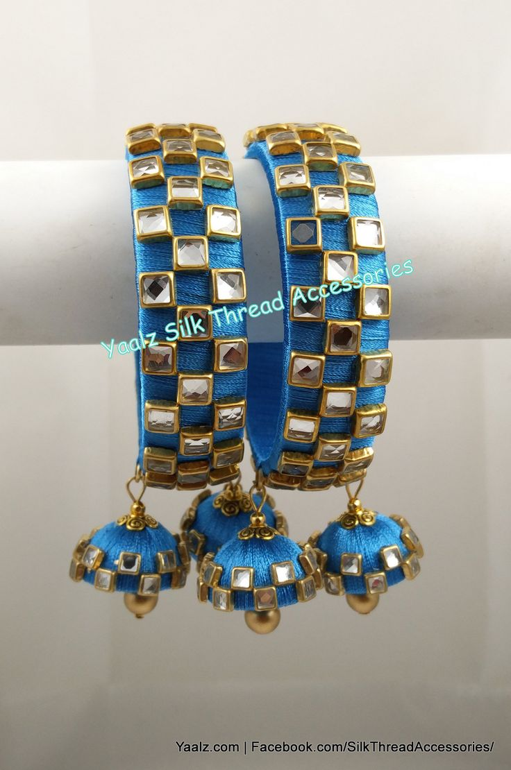 Heavy Kundan Square Stone Work Bangles In  Blue Color !!! Price Rs.750 For Orders Ping Us In WhatsApp +91 8754032250