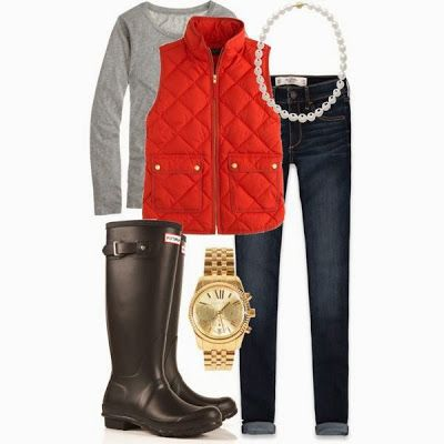 Red puffy vest with a gray sweater, boots, and pearls.