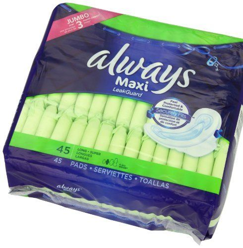 Always Maxi Pads Super with Wings, Unscented, 45 Count by Always. $6.97. Health Aid Type : Personal Health Aids. Adjusts to sudden changes in flow. Feminine Hygiene Product Type : Maxi Pads. Personal Health Type : Feminine Hygiene Products. Pack of two, each package holds 45 count (total of 90 count). Amazon.com                Always® Maxi pads are designed to fit your curves, allowing them to help protect against leaks. This pad also features the LeakGuard™ Cor...