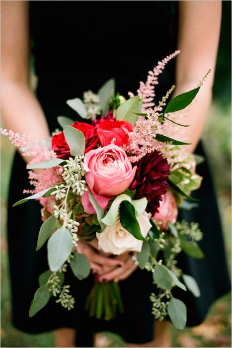 A stunning fall bouquet of deep red dahlias, red anemones and garden roses. Source: wedding chicks. #bouquet #fall #red