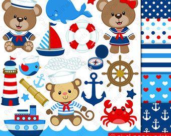 Nautical clipart - Clip art and digital paper set - Baby sailor