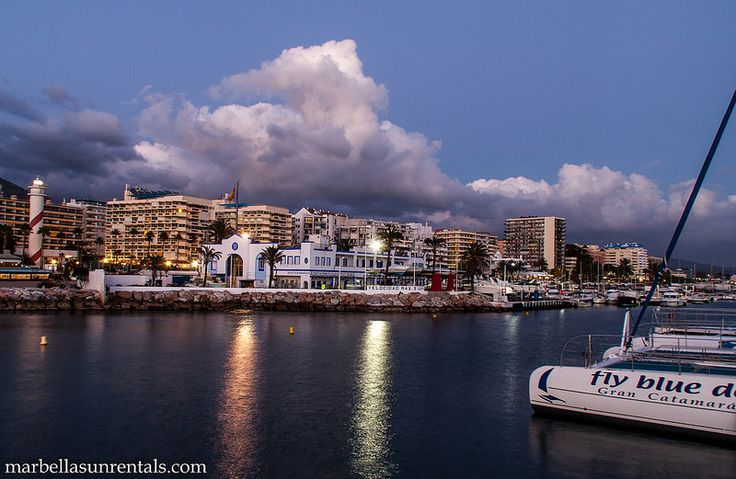 Marbella at sunset, view to port and lighthouse