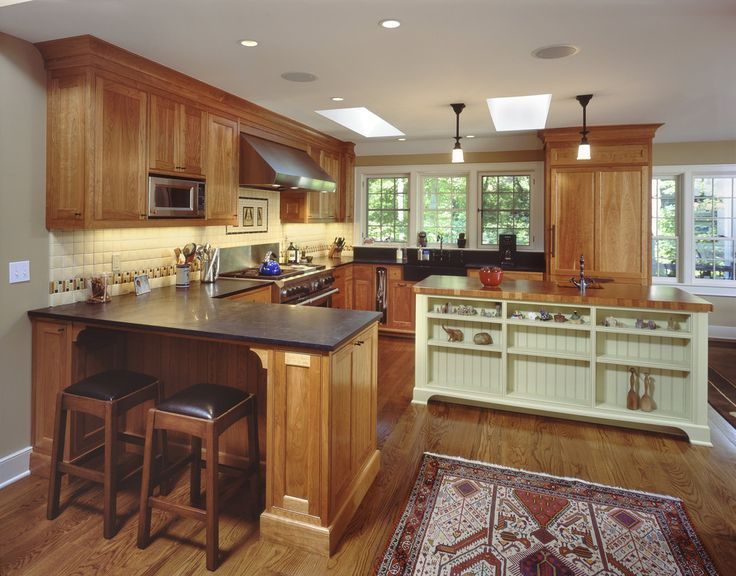 Cherry Oak Cabinets Kitchen Traditional with Arts and Crafts Beadboard