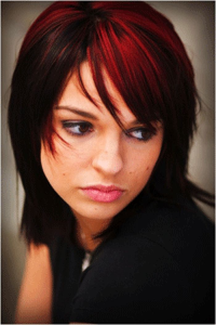 Black With Red Streaks Hair Pinterest