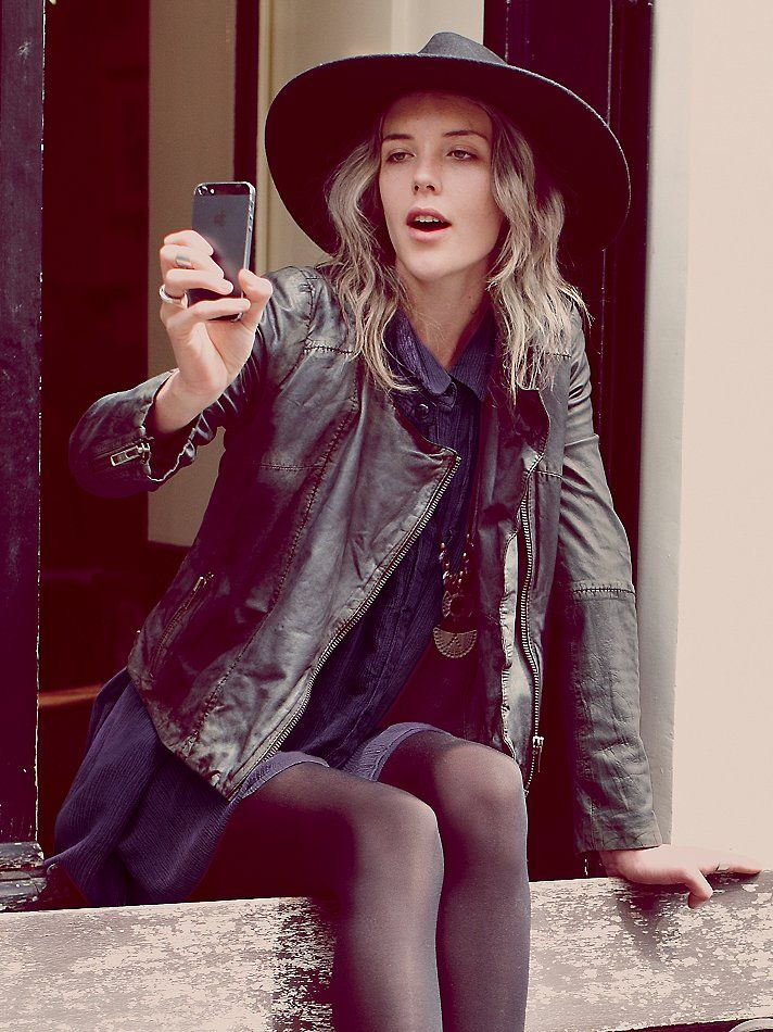 Free People Reminiscent Motorcycle Leather Jacket, $420.00