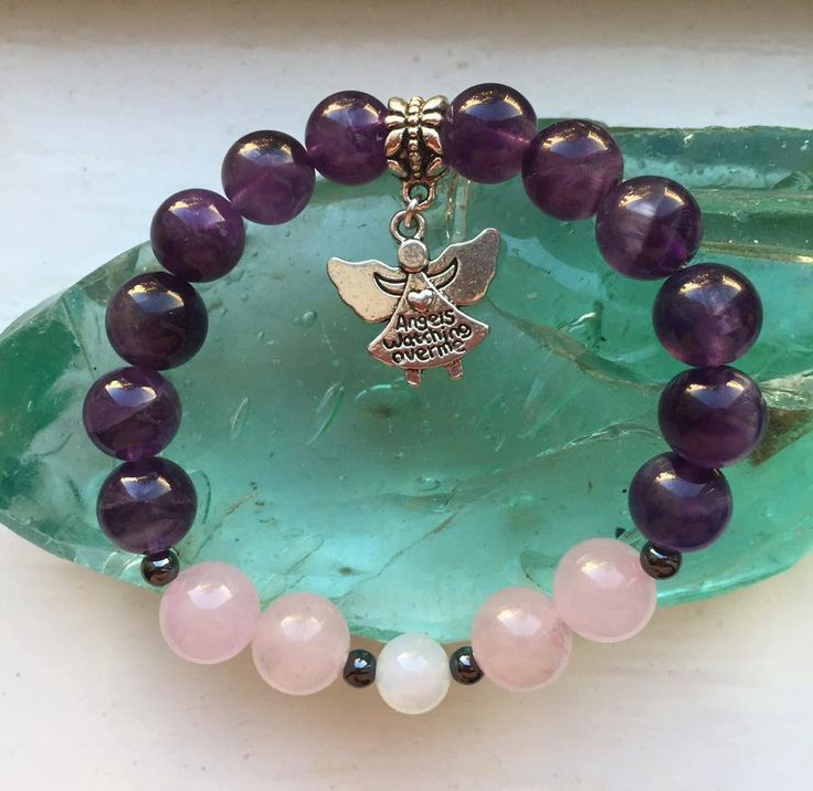 Crystal Bracelet for girls  - On the Wings of My Angel -  amethyst, rose quartz, moonstone and hematite by positivecharmjewels on Etsy