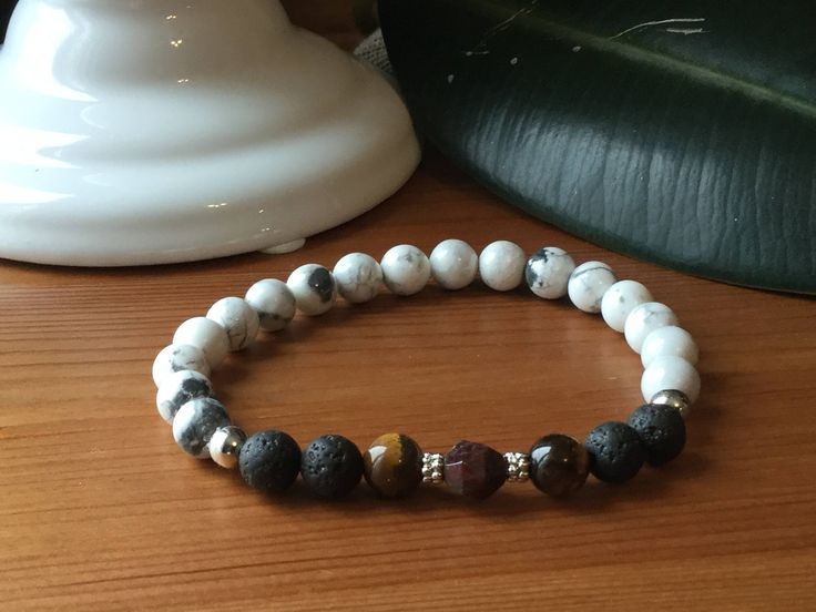Bracelet pour homme howlite, oeil de tigre, grenat, pierres semi précieuses ,cadeau hommes, lapis-lazuli,litho, méditation, mala