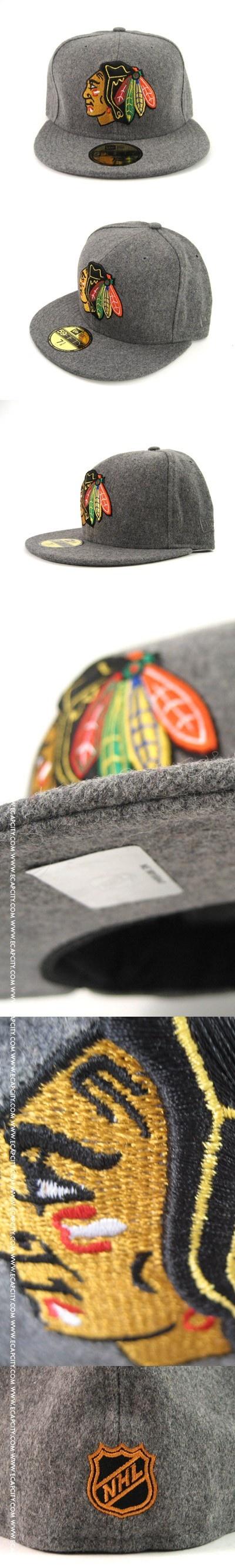 Chicago Blackhawks New Era Hats (WOOL FLANNEL) – Custom Fitteds – NHL 59Fifty Caps