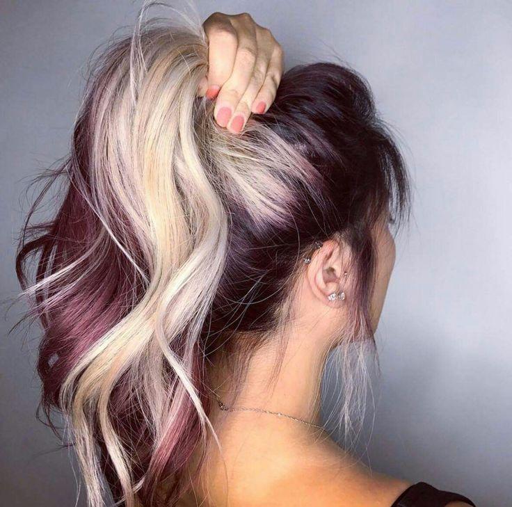 Zweifarbig Burgunder Haar Haarfarbe Blond Haar Ideen
