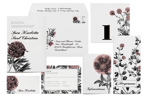 Florale Hochzeitskarten - so dekorativ!!! | Design: Paper & Soul: Florale Hochzeitskarten, Hochzeitseinladung Sets, Sets Summergarden, Floral Hochzeitskarten