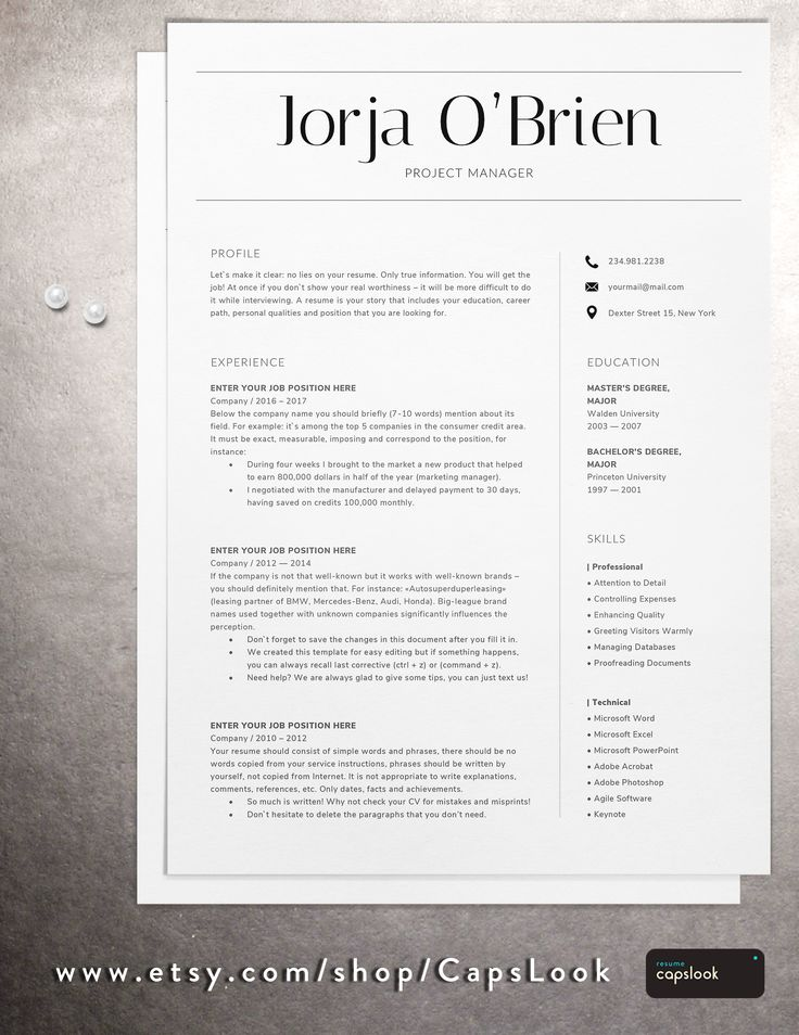 Mejores 45 imágenes de Modern Resume Templates Download on Etsy 2018 ...