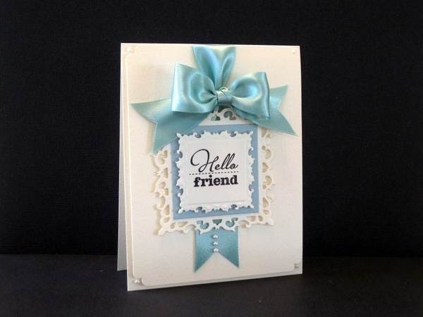 Love the ribbon!!!: Wedding Cards, Cards Ideas, Friends Cards, Bows Cards, Friendship Cards, Awesome Pin, Cards Cards, Hello Friends, Paper Crafts