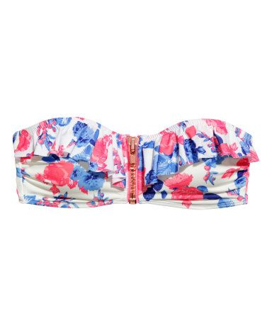 Lined bandeau bikini top with ruffles, front zip, and bright blue & pink floral print. Removable inserts & silicone trim inside upper edge. | H&M Swim