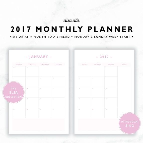 2017 MONTHLY PLANNER / A4 Calendar / 2017 Planner / Planner Inserts / Printable Planner / Calendar / The Elsa Planners in Sing / 414