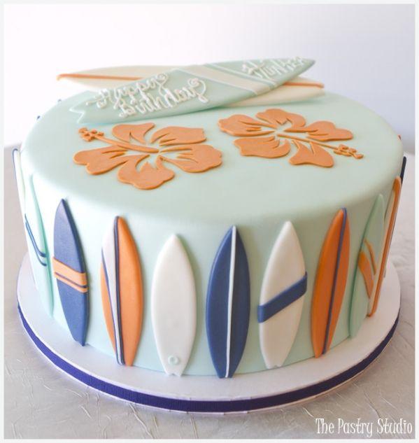 surfing tropical beach cake