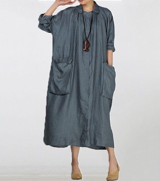 Lapel fold cotton linen button pockets shirt