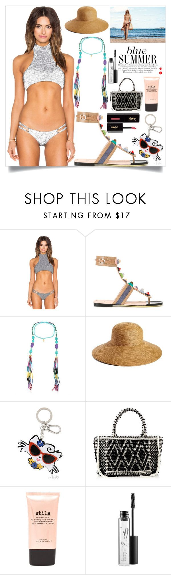 """Summer wear"" by camry-brynn ❤ liked on Polyvore featuring Beach Riot, Fendi, Katerina Psoma, Eric Javits, Karl Lagerfeld, Antonello Tedde, Stila, MAC Cosmetics and Yves Saint Laurent"