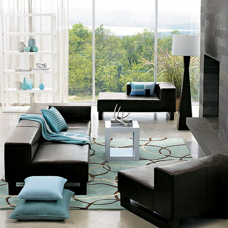 Light Blue Living Room Leather Couch decorating ideas with black furniture in living room