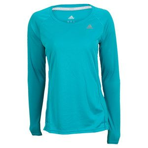 Keep it traditional in the adidas Women's Sequencials Long Sleeve Top Vivid Mint. Breathability is top of the list with the featured Climacool technology, that provides heat and moisture management. Throughout the top there are reflective stripes to help protect you against those dark nights. This top is a must-have staple for your wardrobe this season!Technical Benefits: ClimacoolColor: #adidas #longsleeves #tennis #womenssportswear