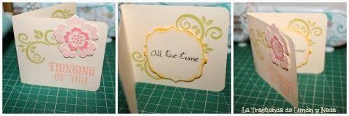 diy tarjeta scrapbook, sizzix big shot troquel- framelits con sello