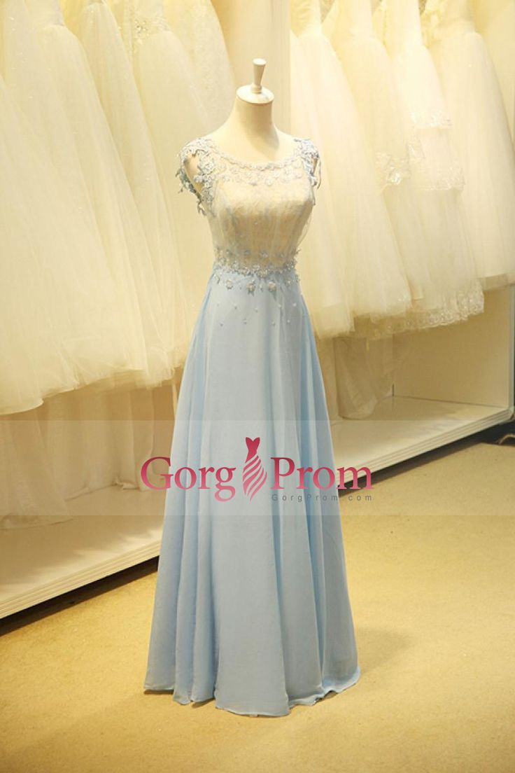 2015 Lace Bodice Scoop A Line Prom Dresses Chiffon With Applique