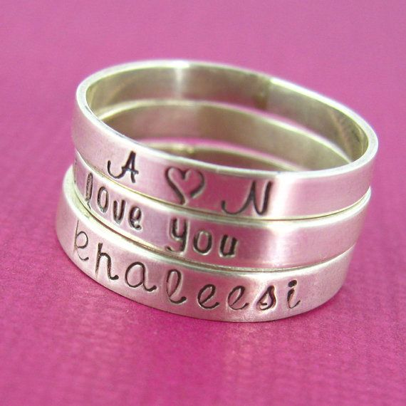 Personalized Single Stacking Ring in Sterling por SpiffingJewelry, $26.00