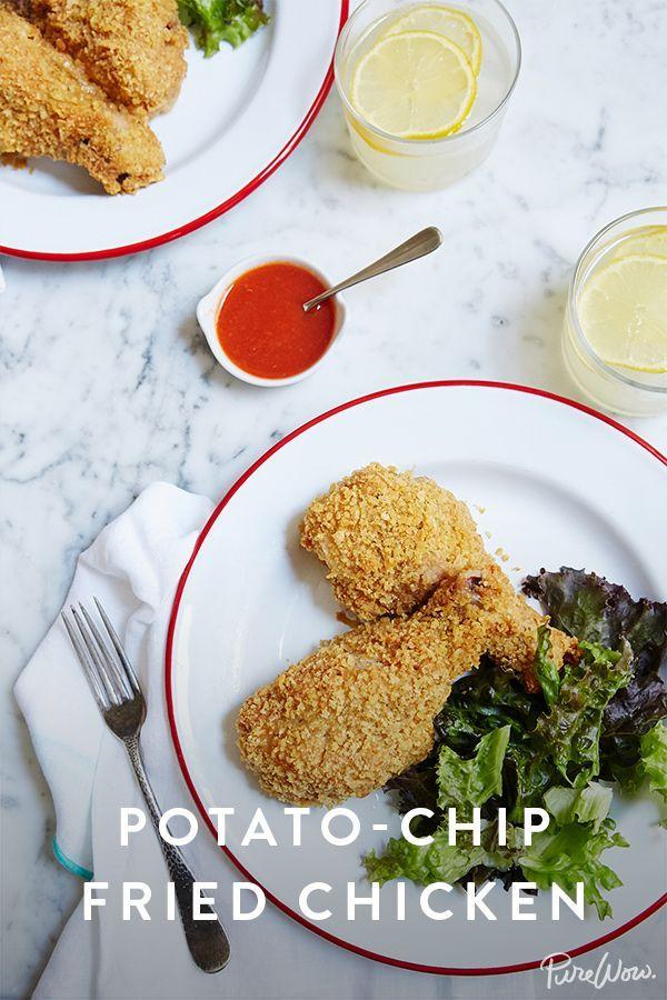 Potato-Chip Fried Chicken via @PureWow