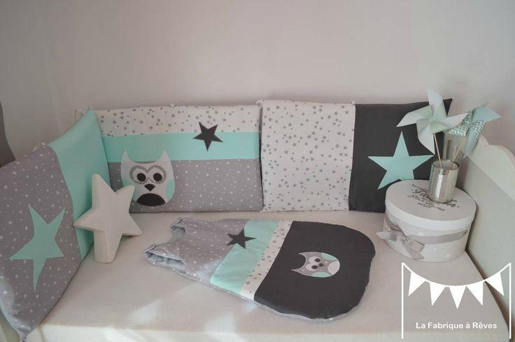 tour lit gigoteuse turbulette gris vert d'eau vert menthe blanc étoiles hibou - décoration chambre bébé fille
