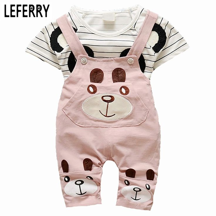2016 New Summer Cute Girls Clothes Kids Baby Clothing Sets Toddler Girl Clothing Kids Clothes Sets T-shirt + Shorts Overalls