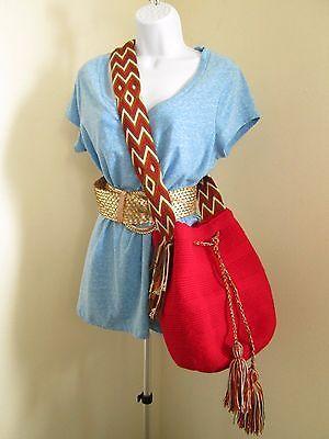 Southwestern Aztec Bohemian Boho Crossbody Cinch Cotton Knit Handbag Red 14x12