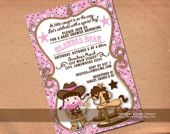 Cowgirl Invitation Baby Shower Birthday Announcement By HoneyBops