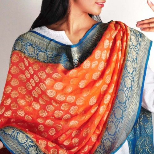 Orange & Blue Banaras Silk Dupatta