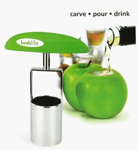 The ShotCarver turns your ordinary fruit into something totally extraordinary- shot glasses.  Just insert the ShotCarver into your apple, pears or other fruits, twist and remove.  Then fill up with alcohol for a tasty shot.
